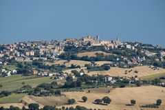 Summer landscape in Marches Italy near Appignano. Rural landscape along the road from Filottrano to Appignano Ancona, Marches, Italy, at summer Royalty Free Stock Photography