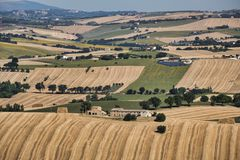 Summer landscape in Marches Italy near Appignano. Rural landscape along the road from Filottrano to Appignano Ancona, Marches, Italy, at summer Stock Images