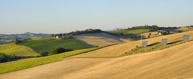 Summer landscape in Marches Italy near Filottrano. Rural landscape along the road from Filottrano to Appignano Ancona, Marches, Italy, at summer Royalty Free Stock Images