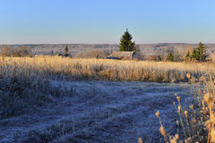 Rural landscape with autumn frost Stock Photo
