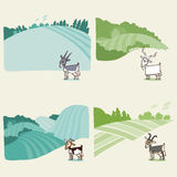 Rural landscape background with a goat. Vector  illustration in cartoon style Royalty Free Stock Image
