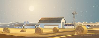 Rural landscape with bales of hay. The ranch. Rural landscape with bales of hay stock illustration