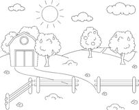 Rural landscape with barn, corral, fields and fruit trees. Color. Ing book. Vector illustration vector illustration