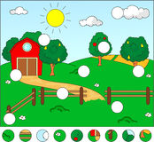 Rural landscape with barn, corral, fields and fruit trees. Complete the puzzle and find the missing parts of the picture. Vector. Illustration. Educational game stock illustration