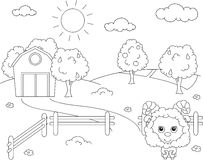 Rural landscape with barn, corral, fields and fruit trees and sh. Eep. Coloring book. Vector illustration vector illustration