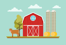 Rural landscape. With barn house, cow, hay and farm towers Stock Photos