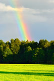 Rural landscape with beautiful rainbow after summer rainstorm over the forest. Stock Photo