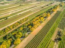 Rural landscape with bird`s eye view. Road through the fields. Trees by the road in autumn colors. Autumn landscape. Rural landscape and farmed fields royalty free stock photography
