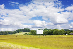 Rural landscape, blank billboard Stock Photos