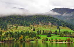Rural landscape. Bohinj lake, Slovenia Royalty Free Stock Image