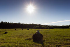 Rural landscape with boy and haystacks Royalty Free Stock Photo