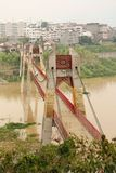 Rural landscape with a bridge across Yangtze river Royalty Free Stock Photography