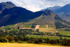 Rural landscape, Capetown province (South Africa). Rural landscape with mountains, fields and vineyard, Western Cape province (South Africa Stock Images