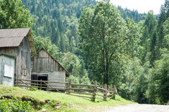 Rural landscape of Carpathian mountains. Small village Stock Photography