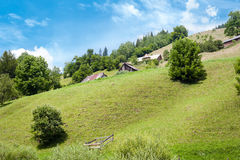Rural landscape of Carpathian mountains. Small village Royalty Free Stock Images
