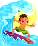 Rural landscape. Cartoon guy surfing on his surfboard Royalty Free Stock Photography