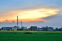 Rural landscape with chimneys. Royalty Free Stock Photos