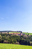Rural landscape with church of divine word missionaries Royalty Free Stock Photos