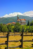 Rural landscape with church in Maddalena. Liguria, Italy with alpine background Royalty Free Stock Photography