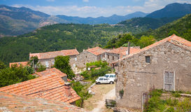 Rural landscape of Corsica, old living houses Royalty Free Stock Image