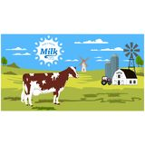Rural landscape with cow and splash. Stock Images