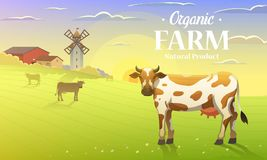Rural landscape and cows. Farm Agriculture. Vector illustration. Poster with meadow, Countryside, retro village for info. Graphic, websites. Milk and dairy Royalty Free Stock Photography