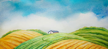 Rural landscape. Cultivated field and blue sky. watercolor picture Stock Images
