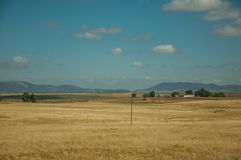 Rural landscape with cultivated fields near the Monfrague National Park. Rural landscape with cultivated fields, farmhouses and hills in the background, in a stock photo
