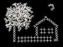 Rural landscape from daggers. Rural house,fence,tree,and moon are laid out from white daggers on a black background Stock Images