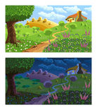 Rural landscape. Day and night. Royalty Free Stock Image
