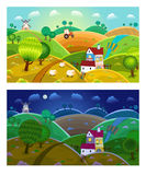 Rural landscape. Day and night. Stock Photos