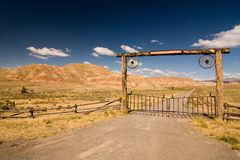 Rural landscape of desert in Wyoming stock photo