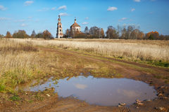 Rural landscape with the destroyed old church Royalty Free Stock Photography