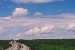 Rural landscape. Dirt road passes through green field, sky with Stock Images