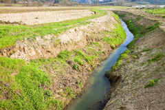 Rural landscape with ditch. In Tuscany countryside (Italy Royalty Free Stock Photo
