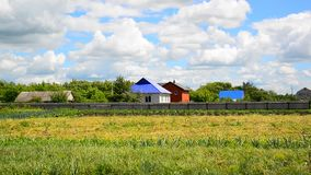 Rural landscape in early autumn in Russia stock video footage
