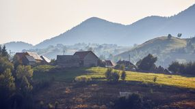 Morning rural landscape, Pestera village, Romania Royalty Free Stock Photo