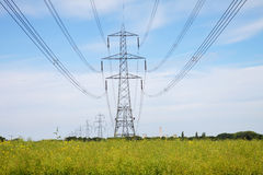 Rural Landscape with Electricity Pylons Royalty Free Stock Image