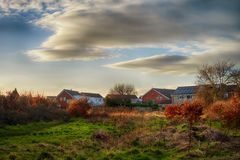 Rural landscape in England. Typical rural spring landscape in England at the sunset Stock Images