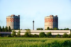 Rural landscape with factory Royalty Free Stock Image