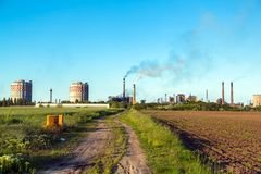 Rural landscape with factory Stock Image