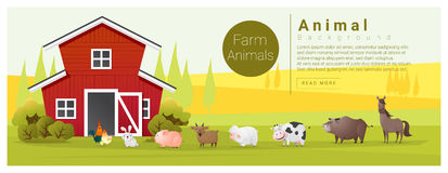 Rural landscape and farm animal background Stock Photos