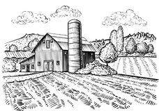 Rural landscape, farm barn and windmill sketch Royalty Free Stock Photos