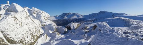 Winter mountain landscape. Overlooking the of the forest valley. Panoramic photo stock images