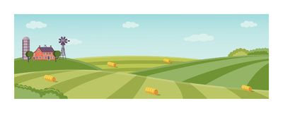 Vector rural background, green grass field. Rural landscape with farm field with green grass, trees. Farmland with house, windmill and hay stacks . Outdoor Stock Photos