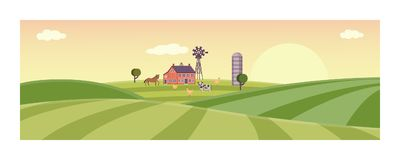 Vector rural background, green grass field. Rural landscape with farm field with green grass, trees. Farmland with house, windmill and livestock - horse, cow and Stock Photography