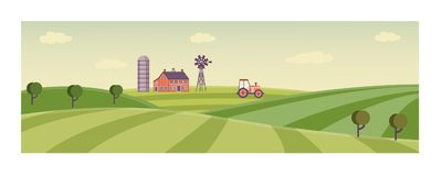 Vector rural background, green grass field. Rural landscape with farm field with green grass, trees. Farmland with house, windmill and working at crop land Stock Image