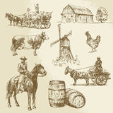 Rural landscape, farm, hand drawn windmill stock illustration