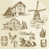 Rural landscape, farm. Hand drawn windmill and watermill Royalty Free Stock Photos