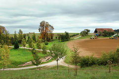 Rural landscape with field work in autumn Royalty Free Stock Photography